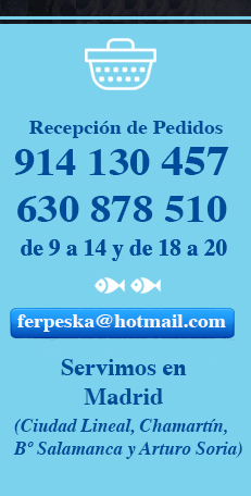 Pescado a domicilio Madrid Pedidos (Arturo Soria, Chamartin, Barrio Salamanca)